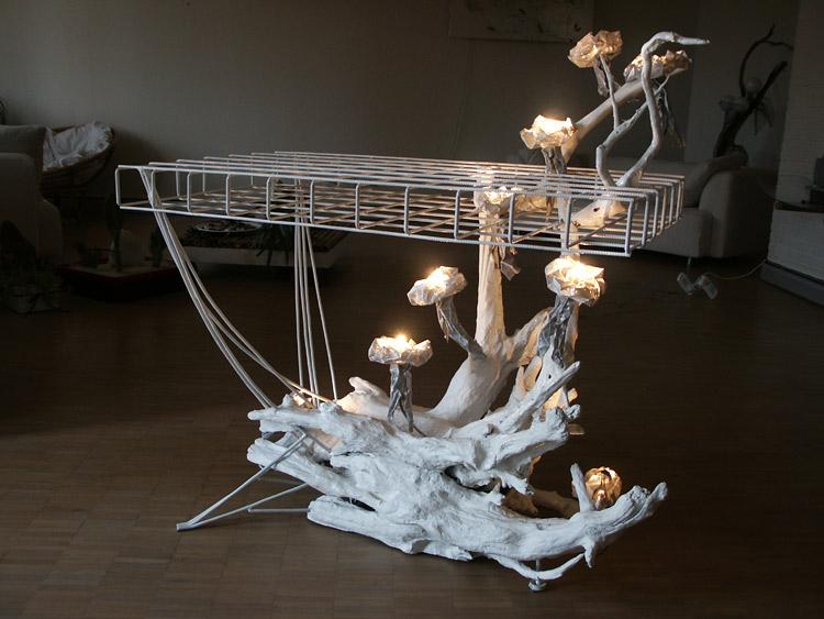 Implacabile natura tavolo luminoso artistico originale di design